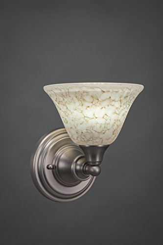 - One Light Wall Sconce with Italian Marble Glass in Brushed Nickel