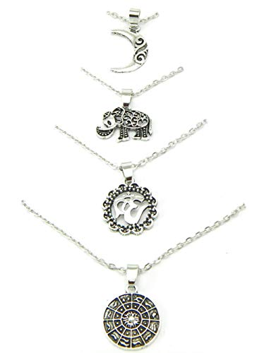 (PlanetZia Beautiful OM, Elephant, Moon, Sun Disk Pendant Multi Layered Necklace TVT-MLN)