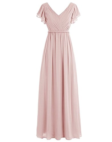 Lafee Bridal Cap Sleeve V-Neck Chiffon Bridesmaid Dress Long Evening Party Dress Blush Size 8