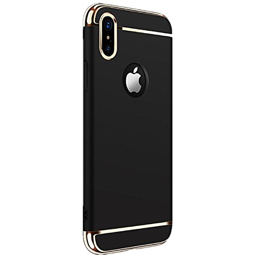 Phone Case of iPhone X/10 Luxury Electroplating Premium 3 In 1 Shockproof Slim Protection Cover (black)