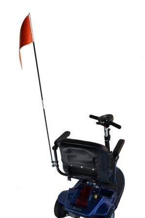 (Diestco Orange Folding Safety Flag | Mounting Hardware Included | Mounts Easily to Wheelchair, Power Chair, or Scooter | 52 inches long)
