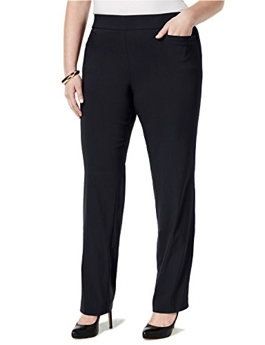 JM Collection Plus Size Pull-On Bootcut Pants (Deep Black, 1X) from JM Collection