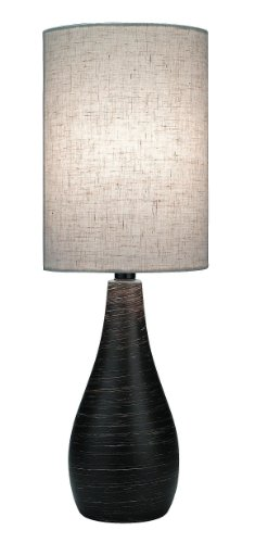 Lite Source LS-2997 Quatro Table Lamp, Brushed Dark Bronze with Linen Shade
