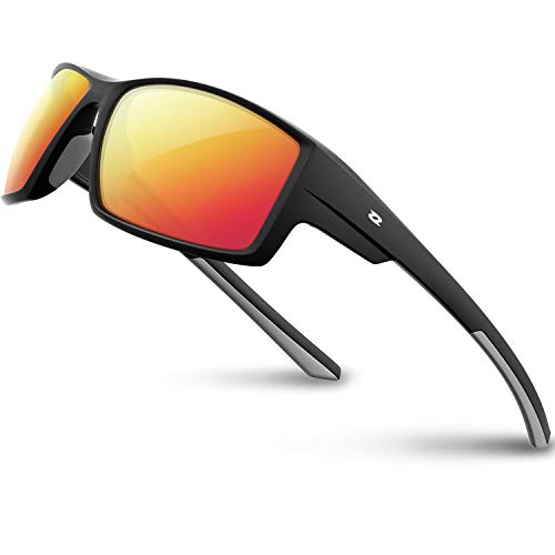 RIVBOS Polarized Sports Sunglasses Driving Glasses Shades for Men Women TR90 Unbreakable Frame for Cycling Baseball RB831 (RBS861-Black Ice Red ()