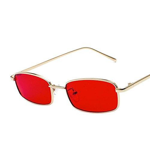 Aoligei Morceau d'océan transparent Lunettes de soleil Fashion petit en carré cadre métal verres rue shoot lunettes de soleil G
