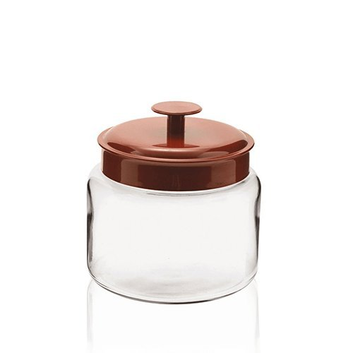 Anchor Hocking Mini Montana Jar with Handled Red Aluminum Cover, 48 Ounce