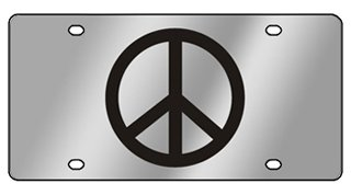 Stainless Steel License Plate- Peace Sign L/O Black Logo