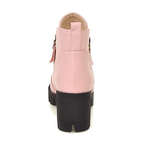Solid High Women's Pink Soft Material Round Toe Zipper Closed Heels Boots WeenFashion pZtw5