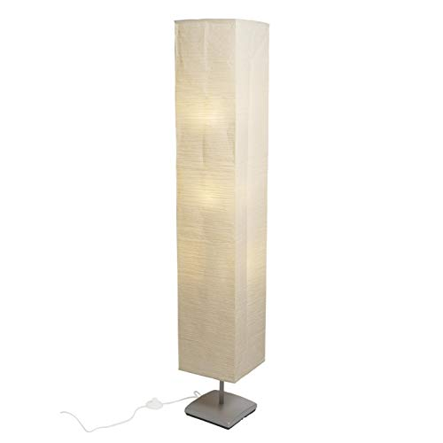 Asian Inspired Living Room Décor Floor Lamp with Rice Paper Shade Includes 3 LED Bulbs Beige]()