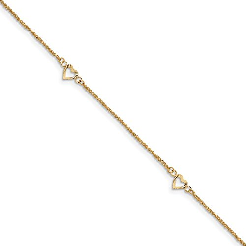 14kt Gold Elephant Bracelet - Ankle Bracelet Foot Jewelry Anklet - ICE CARATS 14kt Yellow Gold Hearts 9 Inch 1 Adjustable Chain Plus Size Extender Anklet Ankle Beach Bracelet Fine Jewelry Ideal Gifts For Women Gift Set From Heart