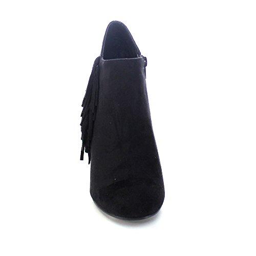 Adriana Tuner-25 Dames Cone Heel Fringe Deco Enkellaarsjes Zwart