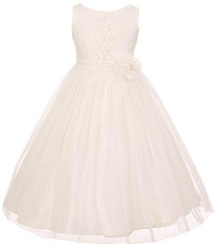 BNY Corner Flower Girl Dress Pearl Flower Floral Pattern Soft Tulle For Little Girl Off White 4 MBK.346