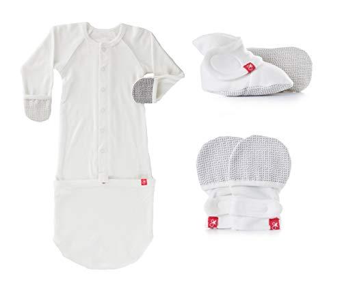 (Newborn Baby Mittens, Booties & Sleep Sack Pajamas Bundle, Organic, Soft & Adjustable (Drops/Gray 0-3 Months))