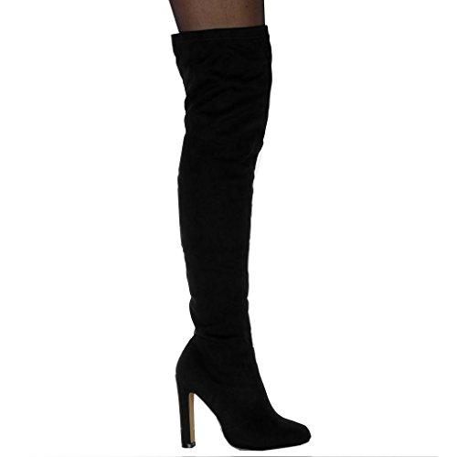 Angkorly Zapatillas Moda Botas Altas Botas Flexible Botas Altas Mujer Tacón Ancho Alto 11 cm Ligeramente Forrada de Piel Negro