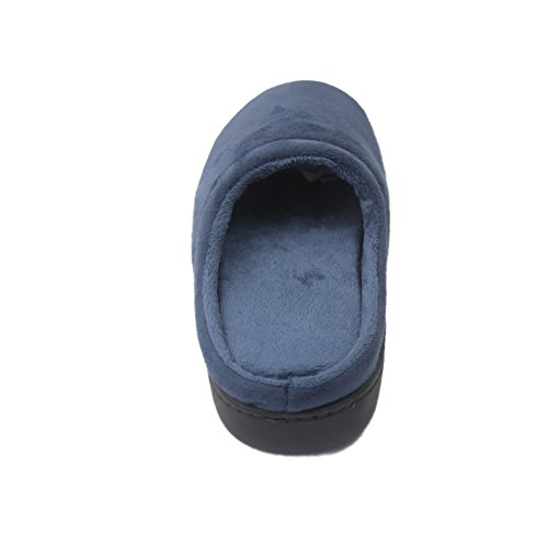 Gohom Mujeres Casual Flannel Memory Foam Interior House Warm Slippers Azul Marino