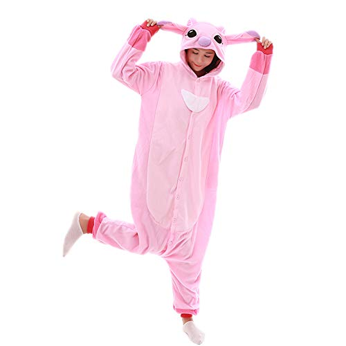 Unisex-Adult Onesie Pajamas Stitch Animal Sleepwear for Halloween Party Costumes,Daily Cartoon Outfit(Pink,M) (Pics Of Stitch From Lilo And Stitch)