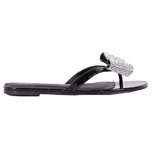 Rocus Women's Rhinestone Bow Detail Slip On Sandals (9 (M) US, Black)