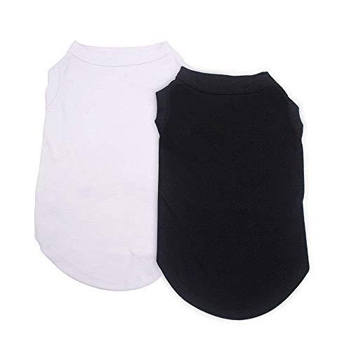 EXPAWLORER 2Pcs Dog Shirt Breathable Dog T-Shirt Soft Custom Clothes for Small Dogs, Black & White