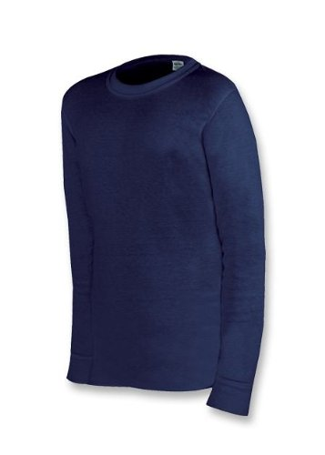 Duofold Protherm Youth Long Sleeve Crew, Navy, Large