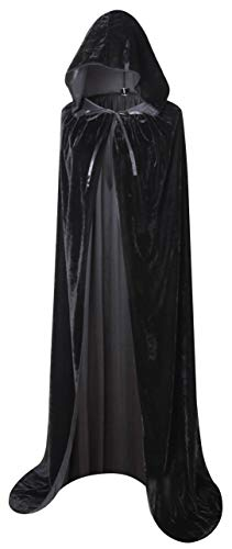 BIGXIAN Extra Long Hooded Velvet Cloak Halloween Christmas Fancy Cape Black]()