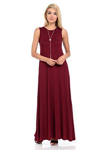 (Pastel by Vivienne Women's Sleeveless Maxi Dress with Pockets Medium Burgundy)