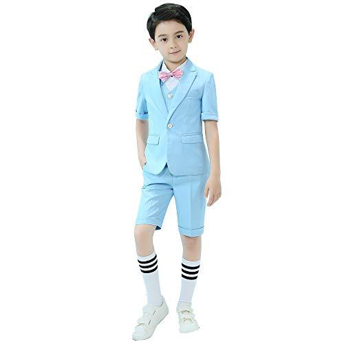 Iyan Boys Short Suit 5 Piece Slim Fit Suit for Boys Light Blue Size 10