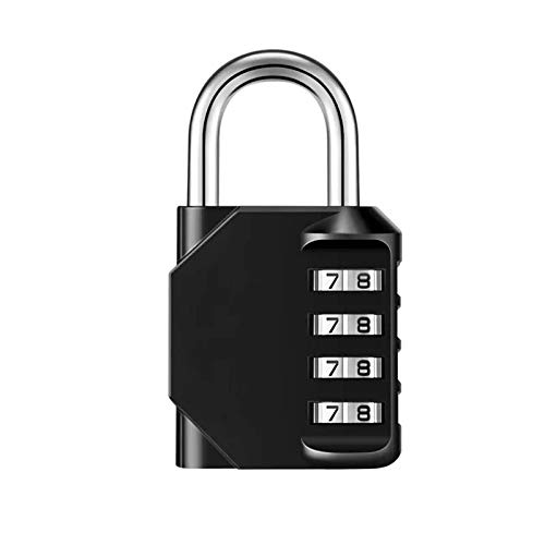 Padlock - 4 Digit Combination Lock for School Gym & Sports Locker, Home, Office, Travel, Bicycle, Toolbox, Luggage,Case, Hasp Cabinet & Storage, Fence by Wffdirect, 1 Pack (Black and Code Window)