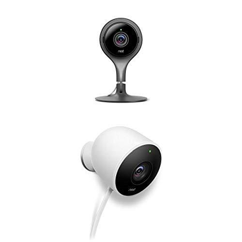 Nest Indoor and Outdoor Camera Bundle Works with Alexa
