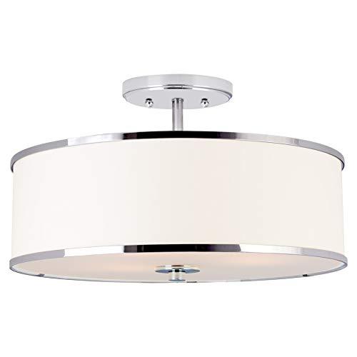 "Kira Home Chloe 15"" Retro Modern 3-Light Semi-Flush Mount Ceiling Light + White Drum Shade, LED Compatible, Round Tempered Glass Diffuser, Chrome Trim Finish"
