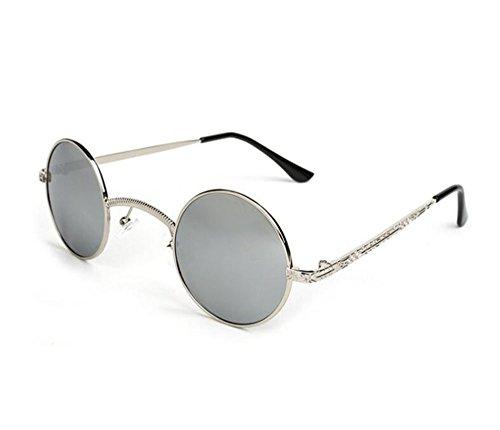 metal Plata no pequeña hippy de gafas Plata polarizado caja Steampunk Retro sol puente marco redondo de personalidad a6qwH1T