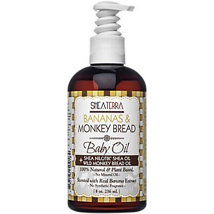 Shea Terra Organics Bananas and Monkey Bread Baby Oil with Cold Pressed Shea Nilotik' Shea Butter Oil | All Natural Skin Care - 8 oz by Shea Terra Organics