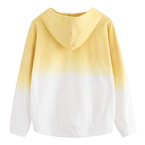 Sweatshirt Mujer Original youth Tumblr Chica Tops Blusa Abrigo Amarillo Con Manga Hoodie Adolescente Otoño Sudaderas Casual Deporte Capucha K Larga Patchwork BtOwqaB