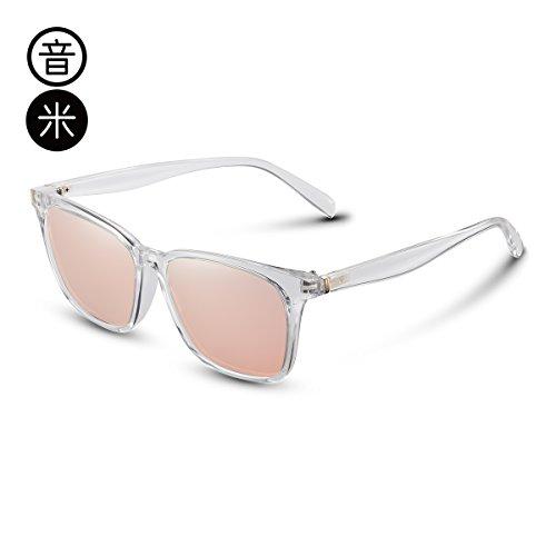 grande Transparent pionero marco Gafas polarización gafas Gafas de de hombres cara Pink Frame gris KOMNY cuadrados sol hembra Negro qEPgWHaxw7