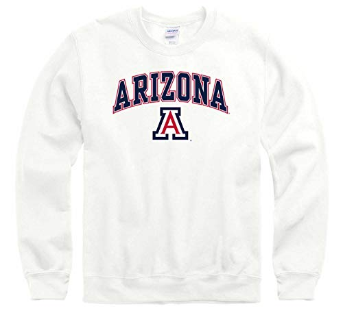 (Arizona Wildcats Arch & Logo Gameday Crewneck Sweatshirt - White, Medium)