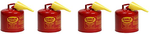"""Eagle UI-50-FS Red Galvanized Steel Type I Gasoline Safety Can with Funnel, 5 Gallon Capacity, 13.5"""" Height, 12.5"""" Diameter (Pack of 4)"""