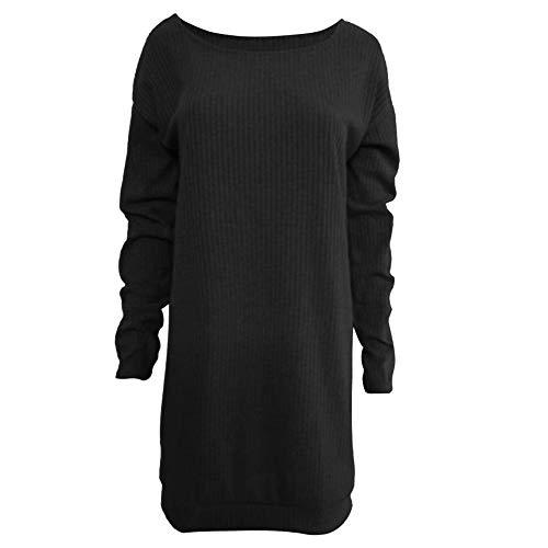 MOIKA Womens Jumper Dress Oversized Casual Crew Neck Loose Long Sleeve Knited Tunic Fluffy Sweatshirt Pullover Tops Mini Sweater Dress