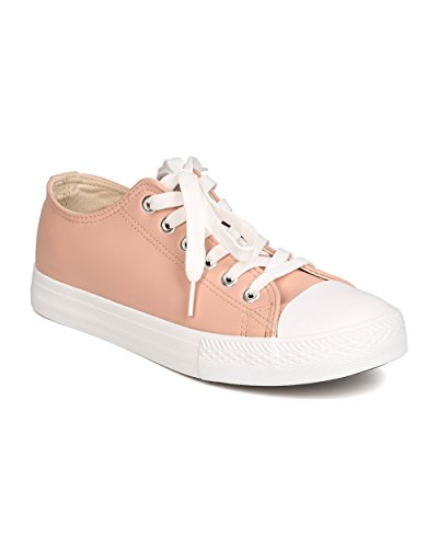 Qupid GK62 Women Leatherette Capped Toe Lace Up Sneaker – Blush (Size: 8.0)