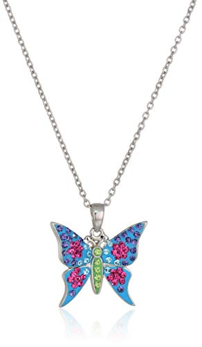 Silver Plated Crystal Multi Color Butterfly Pendant Necklace, - Butterfly Silver Plated