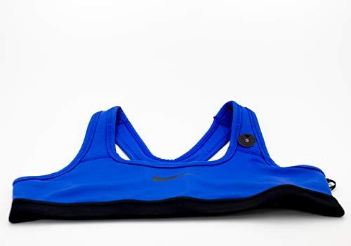 Nike Girls Pro Dri-Fit Classic Swoosh Sports Bra Blue/Black (Small) (Nike Pro Sports Bra Kids)