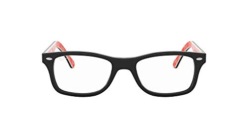 Ray-Ban RX5228 Square Eyeglass Frames, Black On Texture Red/Demo Lens, 55 mm