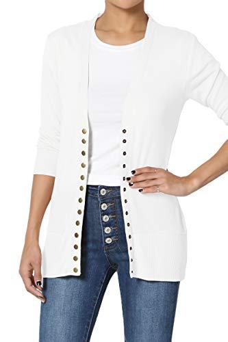 TheMogan Women's Snap Button V-Neck 3/4 Sleeve Layering Knit Cardigan Ivory S (V-neck 3/4 Cardigan Sleeve)