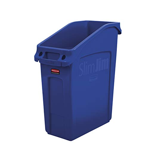 Rubbermaid Commercial Products 2026699 Slim Jim Under-Counter Trash Can with Venting Channels, 13 Gallon, Blue