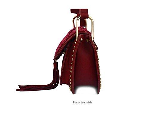 GSHGA Bolsos De Cuero Suave De La Mujer Folk-custom Bolso De La Borla Cruz Del Hombro,Khaki Red