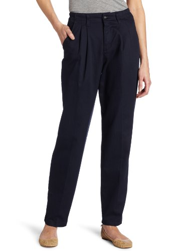 Lee Women's Relaxed Fit Side Elastic Pleated Pant, Navy, 14 Long