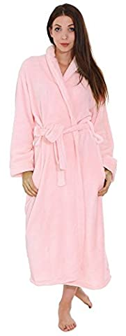 Simplicity Warm Plush Spa Hotel Kimono Bath Robe Bathrobe for Women and Men Pink