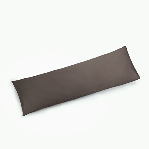 YAROO 21x72 Body Pillow Cover,Body Pillow Case Non-Zippered Enclosure,400 Thread Count,100% Cotton,Solid,Metal Gray.