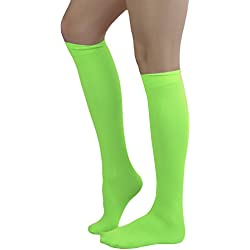 ToBeInStyle Women's Sexy Opaque Warm Knee High Long Socks Hosiery - NEON GREEN - One Size
