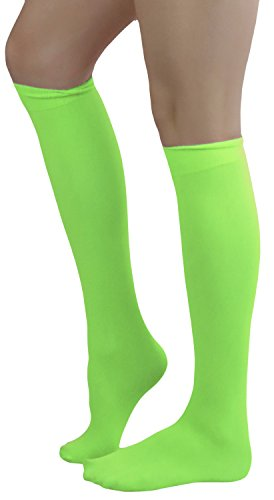 ToBeInStyle Women's Sexy Opaque Warm Knee High Long Socks Hosiery - Neon Green - One Size -