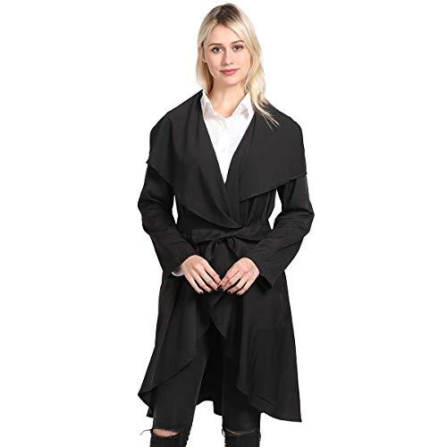 (KENGURU COVE Women's Casual Long Sleeve Lapel Outwear Asymmetrical Trench Coat Cardigan with Belt(Black,M))