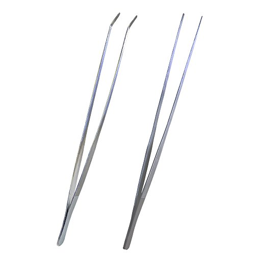 YEJI Straight and Curved Tweezers Nippers, 2pcs Long Handle Stainless Steel Tweezers, Aquarium Tweezers for Garden, Kitchen, Indoors and Outdoors, Size 48cm